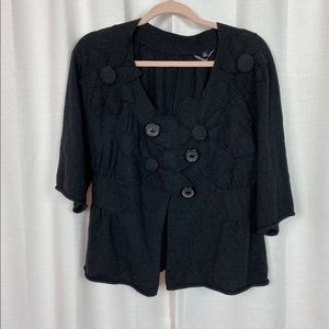 Knitted&Knotted Black Flower Cardigan Sz.M